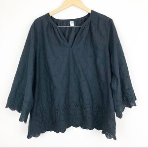 Old Navy Black Eyelet Blouse